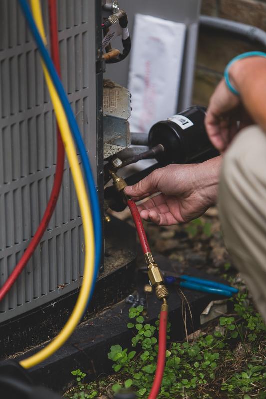 HVAC system gauges for testing pressure and refrigerant levels