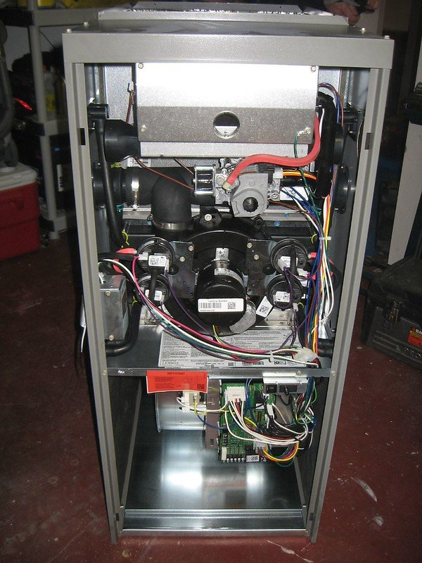 a view of the inside of a clean furnace
