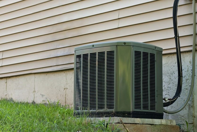 A heat pump system outside a customers home